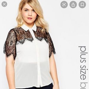 White Sheer Blouse with Lace Detail